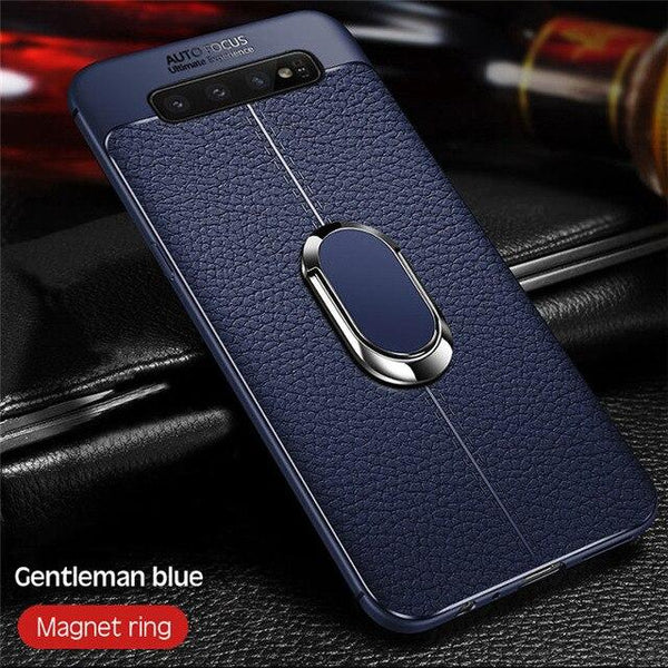 Soft Silicone PU Leather Stand Holder Case for Samsung S7 Edge S8 S9 + S10 Plus Note 8 9
