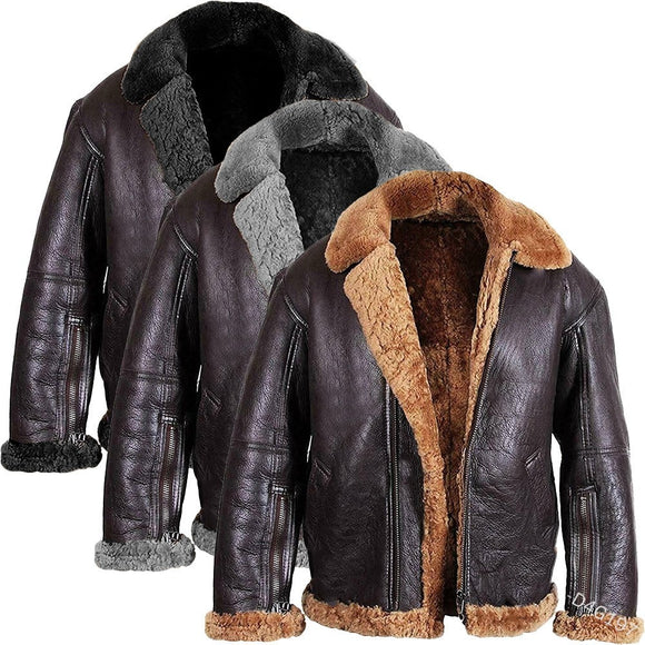 Streetwear Men Fur Coat PU Leather Jacket ( 💥Over $89+ ,Code SAVE10🛒)