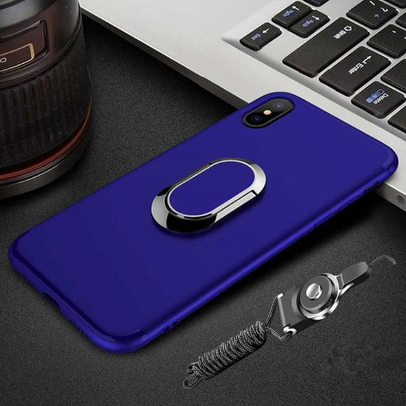 Luxury 3D Ultra-Thin Protective Magnetic Ring Kickstand Case for iPhone +Magnetic Ring Holder +Strap