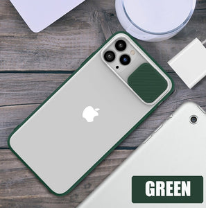 Translucent Slide Camera Phone Protection Case For iPhone 12 Soft TPU Matte PC Shockproof Cover