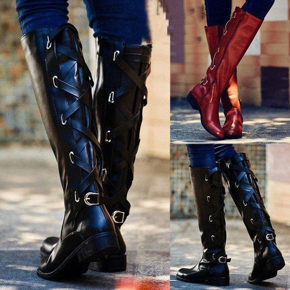 Boot - Women Vintage Knee High Buckle Boots