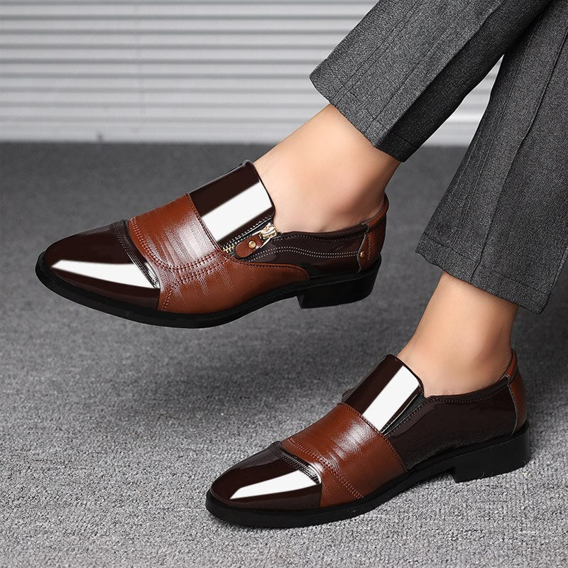 Lace-up Optional Muyin Mens Business Shoes Matte PU Leather /& Canvas Splice Slip-on Breathable Lined Oxfords