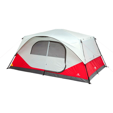 key features Outbound 10-Person 3-Season Lightweight Cabin Tent with Carry Bag and Rainfly - Red