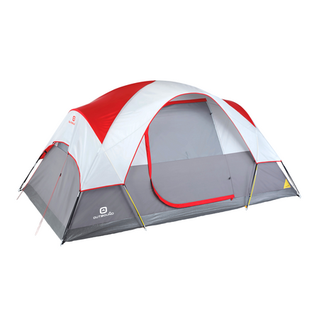 key features Outbound 6-Person 3-Season Lightweight Dome Tent with Carry Bag and Rainfly - Red