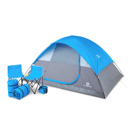 key features Outbound Six-Piece Combo Camping Set with 5-Person 3-Season Lightweight Dome Tent, 2 Sleeping Bags, 2 Chairs, Cooler and Rainfly - Blue