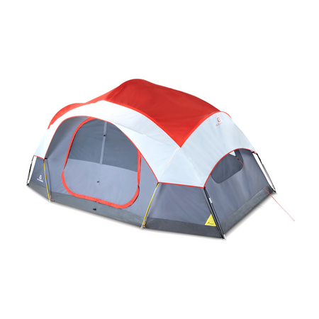 key features Outbound 8-Person 3-Season 2-Room Lightweight Dome Tent with Carry Bag and Rainfly – Red