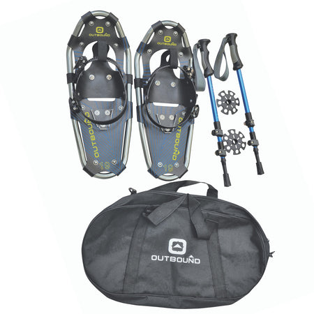 key features Outbound Snowshoes Bundle: Lightweight Aluminum Frame 19 Inch, 90 lb Capacity, with Adjustable Poles and Carry Bag