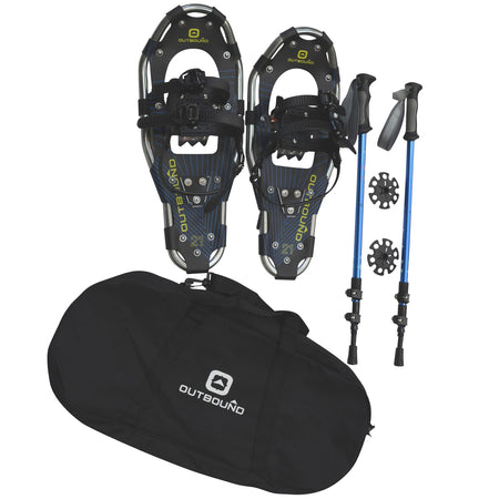 key features Outbound Snowshoes Bundle: Lightweight Aluminum Frame 21 Inch, 150 lb Capacity with Adjustable Poles and Carry Bag