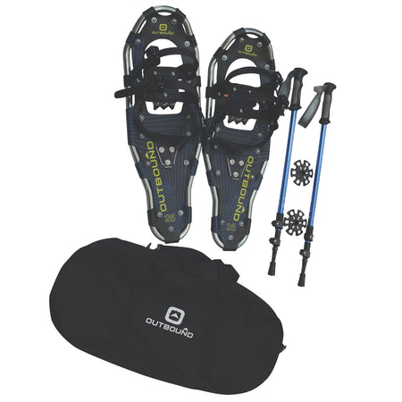 key features Outbound  Lightweight Aluminum Frame Snowshoe Bundle, 25 Inch, 160 lb Capacity, with Adjustable Poles and Carry Bag