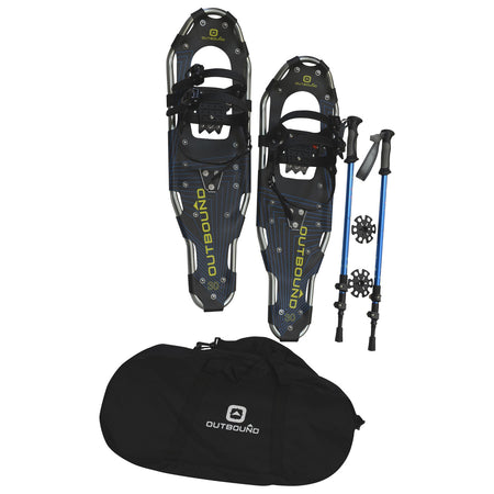 key features Outbound Lightweight Aluminum Frame Snowshoe Bundle 30 Inch, 250 lb Capacity, with Adjustable Poles and Carry Bag