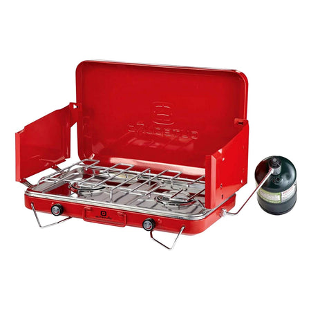 key features Outbound Portable Propane Gas Camping Stove with 2 Burners - Red