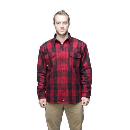 key features Woods Men's Button Down Regular Fit Long Sleeve Plaid Flannel Shirt - Red