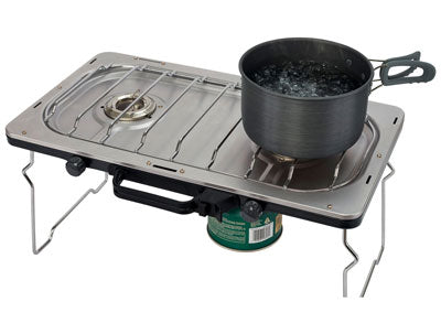 key features Woods Portable Multi-Fuel Camping Stove With 2 Burners