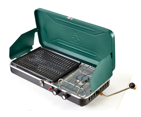 key features Woods 2-in-1 Propane Camping Grill & Stove Combo