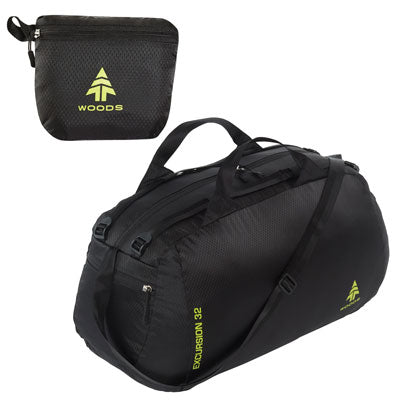 key features Woods Excursion 32L Duffel Bag - Black