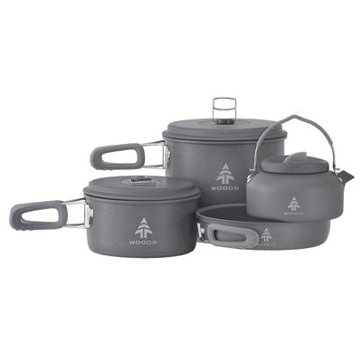 key features Woods Selkirk Anodized 4-pc Camping Cook Set