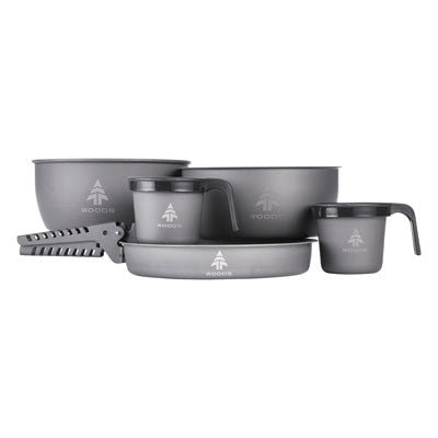 key features Woods Nootka Anodized 5-pc Camping Cook Set