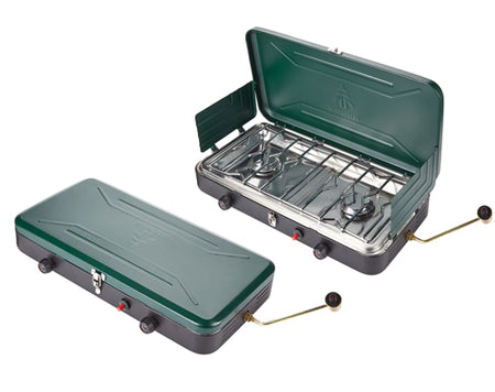 key features Woods Portable Propane Camping Stove With 2 Burners