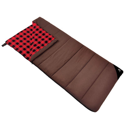key features Woods Heritage Cotton Flannel Camping Sleeping Bag: 32 Degree - Brown