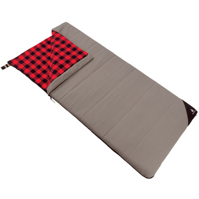 key features Woods Heritage Cotton Flannel Camping Cold Weather Sleeping Bag: 14 Degree - Gray