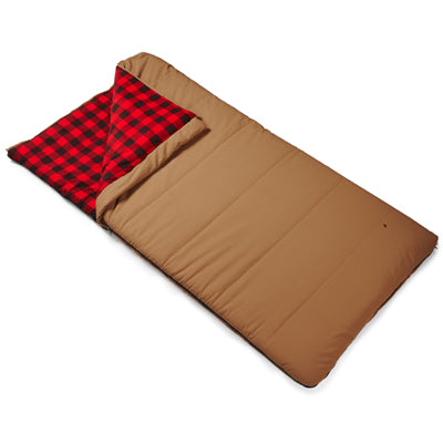 key features Woods Heritage Cotton Flannel Sleeping Bag: 5 Degree - Tan
