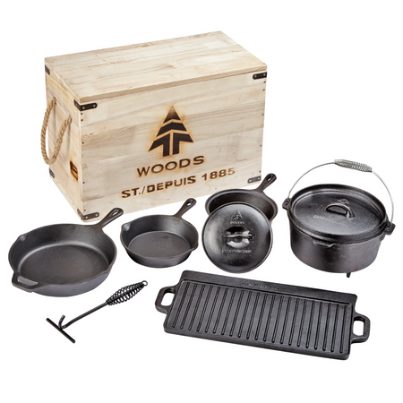 key features Woods Heritage Cast Iron Camping Cook Set with Crate - 8 Pieces