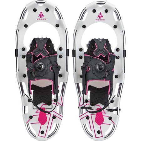 key features Woods All-Terrain Snowshoes Lightweight Aluminum Frame 25 Inch, 200 lb Capacity, with Carry Bag