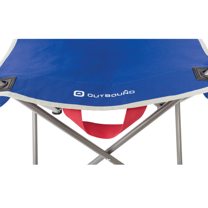 Outbound Folding Quad Camping Chair with Mesh Back and Cup Holder - Blue