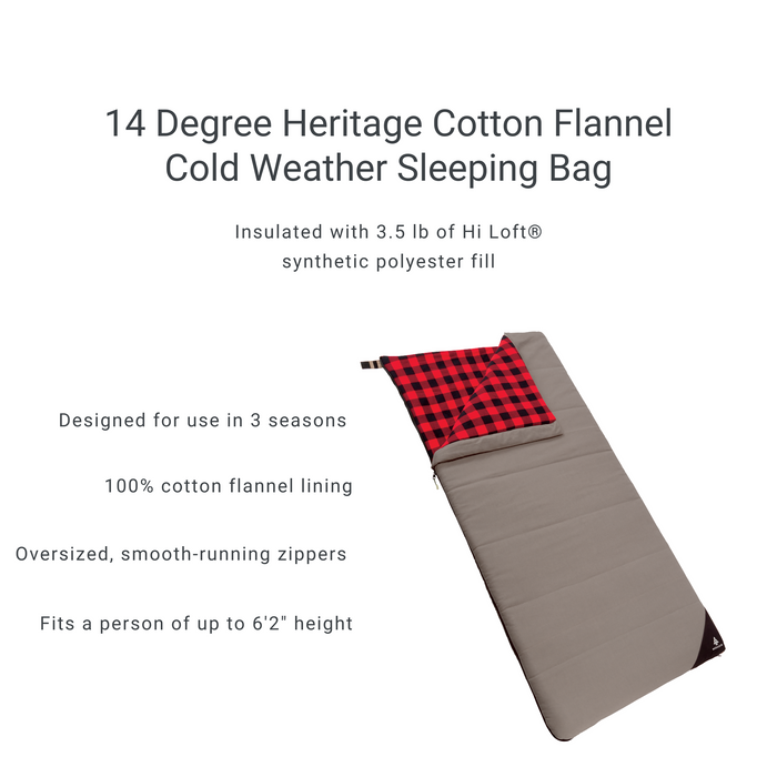 Woods Heritage Cotton Flannel Camping Cold Weather Sleeping Bag: 14 Degree - Gray