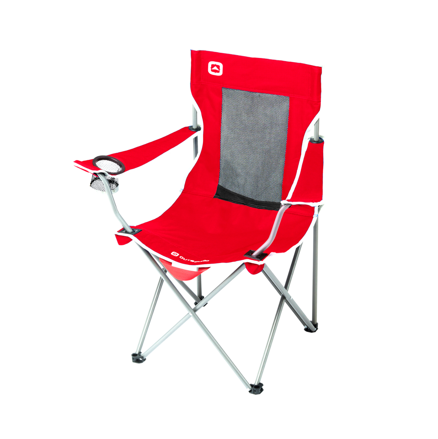 Outbound Folding Quad Camping Chair with Mesh Back and Cup Holder - Red