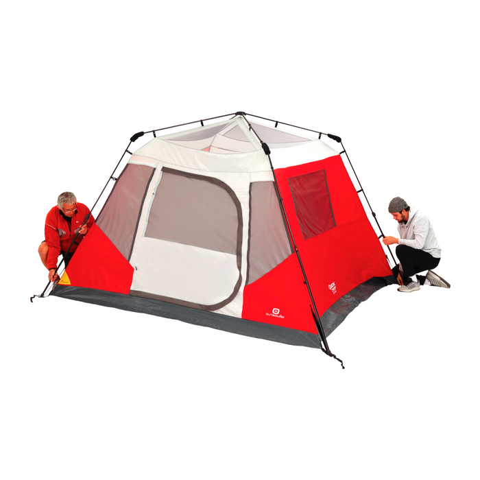 Outbound 6-Person 3-Season Instant Pop-Up Cabin Tent with Carry Bag and Rainfly - Red