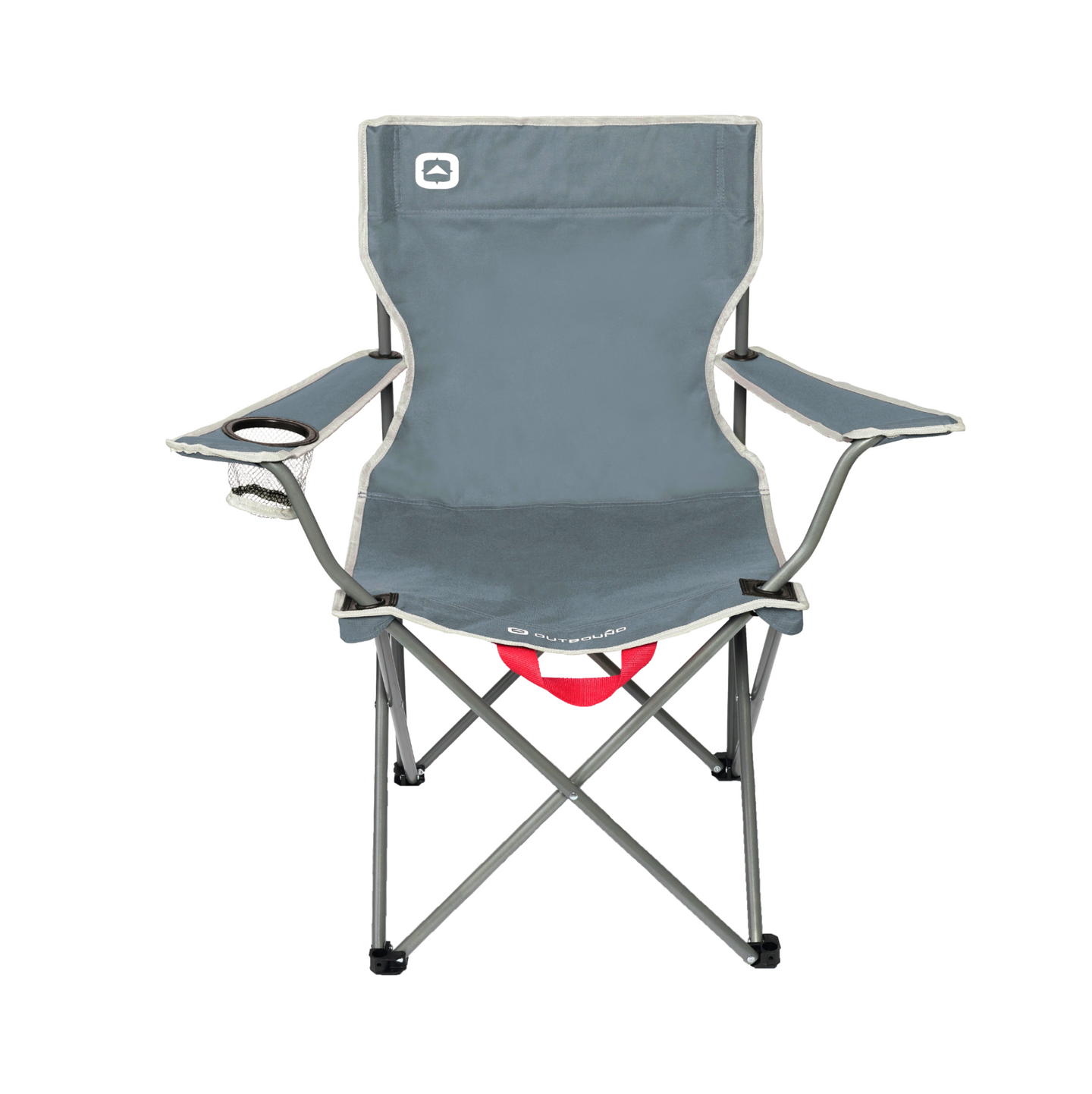 Outbound Portable Folding Wide Back Quad Camping Chair with Cup Holder - Gray