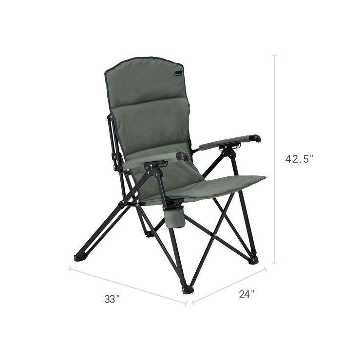 Woods Siesta Folding Reclining Padded Camping Chair - Gun Metal