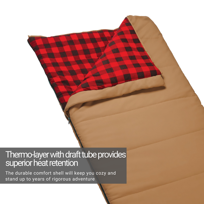 Woods Heritage Cotton Flannel Camping Cold Weather Sleeping Bag: 5 Degree - Tan