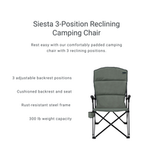 Load image into Gallery viewer, Woods Siesta Folding Reclining Padded Camping Chair - Gun Metal