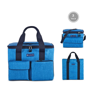 Outbound Picnic and Camping Insulated 3-Piece Soft Cooler Set with Tote Bag- 30 Can and 6 Can Capacity