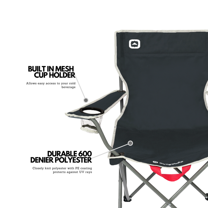 Outbound Portable Folding Wide Back Quad Camping Chair with Cup Holder - Black