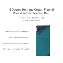 Load image into Gallery viewer, Woods Heritage Cotton Flannel Camping Cold Weather Sleeping Bag: 5 Degree - Blue