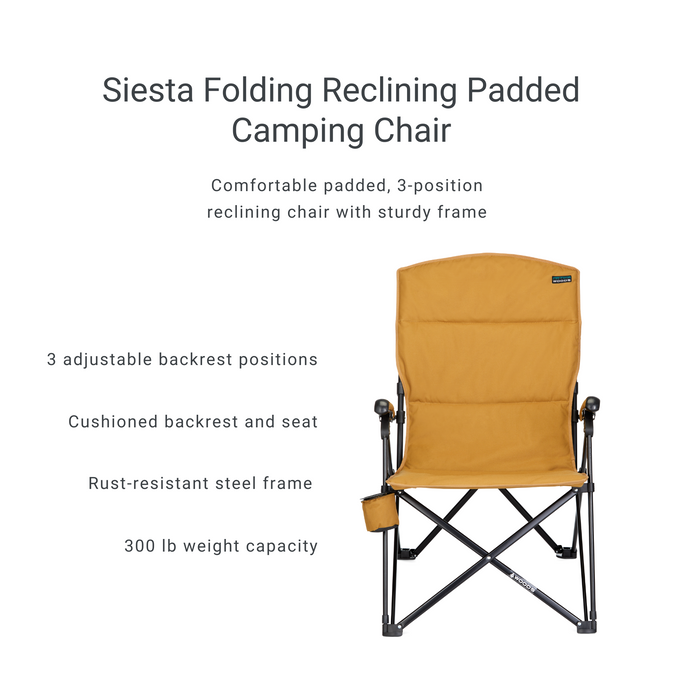 Woods Siesta Folding Reclining Padded Camping Chair - Dijon