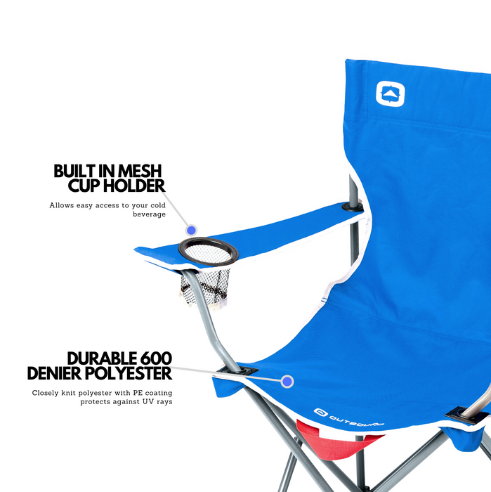 Outbound Portable Folding Quad Camping Chair with Cup Holder - Blue