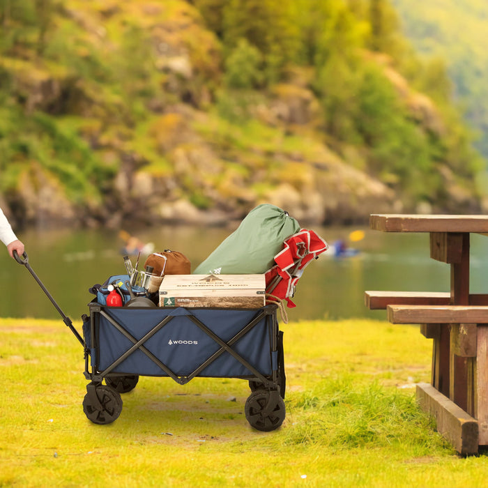 Woods Outdoor Collapsible Utility King Wagon - 225 lb Capacity - Navy