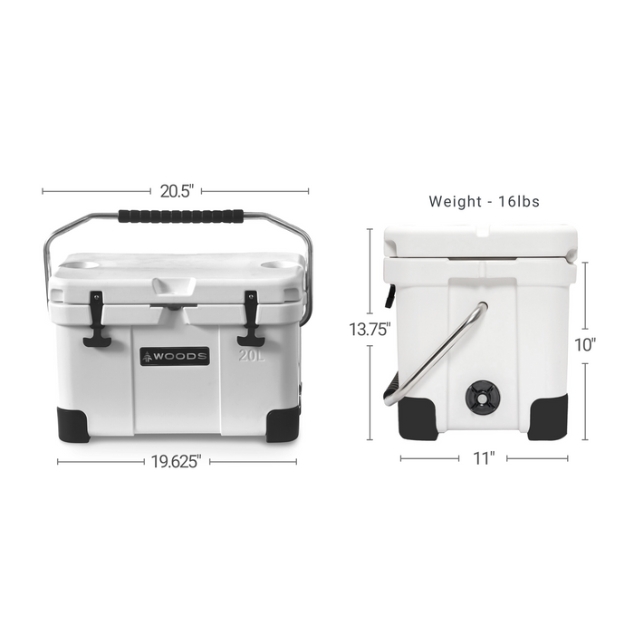 Woods Arctic White Standard Cooler 20 Quart Roto-Molded