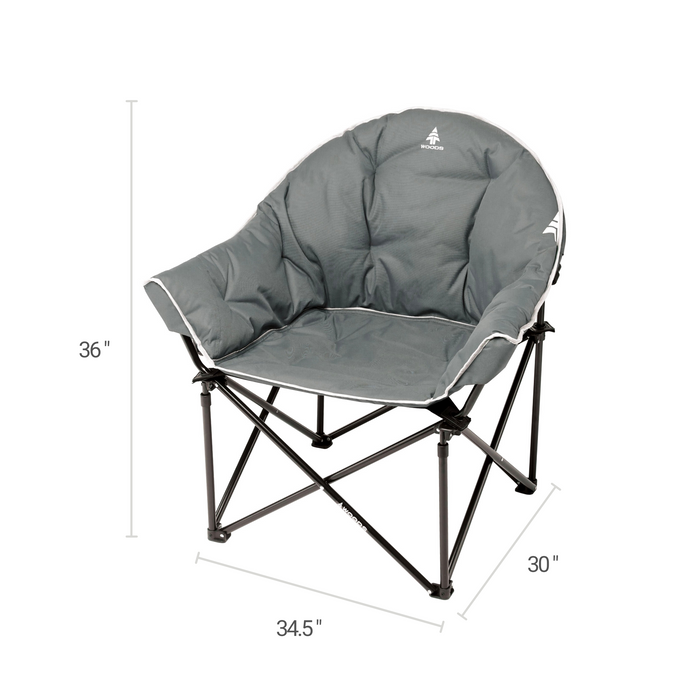 Woods Strathcona Fully Padded Folding Camping Bucket Chair -  Gray