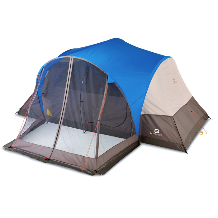 Outbound 8-Person 3-Season Lightweight Dome Tent with Screen Porch, Carry Bag and Rainfly - Blue