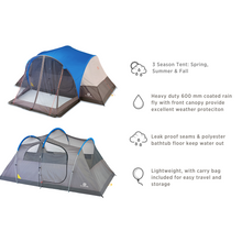 Load image into Gallery viewer, Outbound 8-Person 3-Season Lightweight Dome Tent with Screen Porch, Carry Bag and Rainfly - Blue