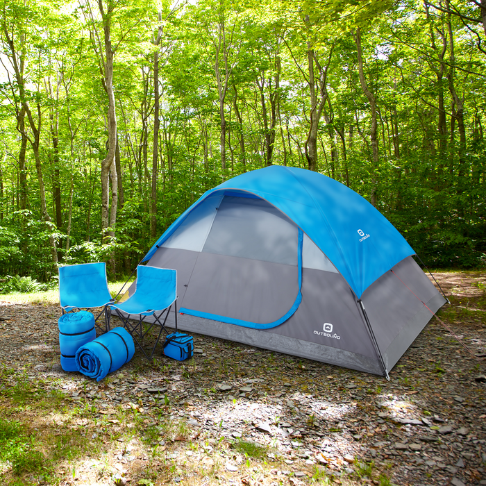 Outbound Six-Piece Combo Camping Set with 5-Person 3-Season Lightweight Dome Tent, 2 Sleeping Bags, 2 Chairs, Cooler and Rainfly - Blue