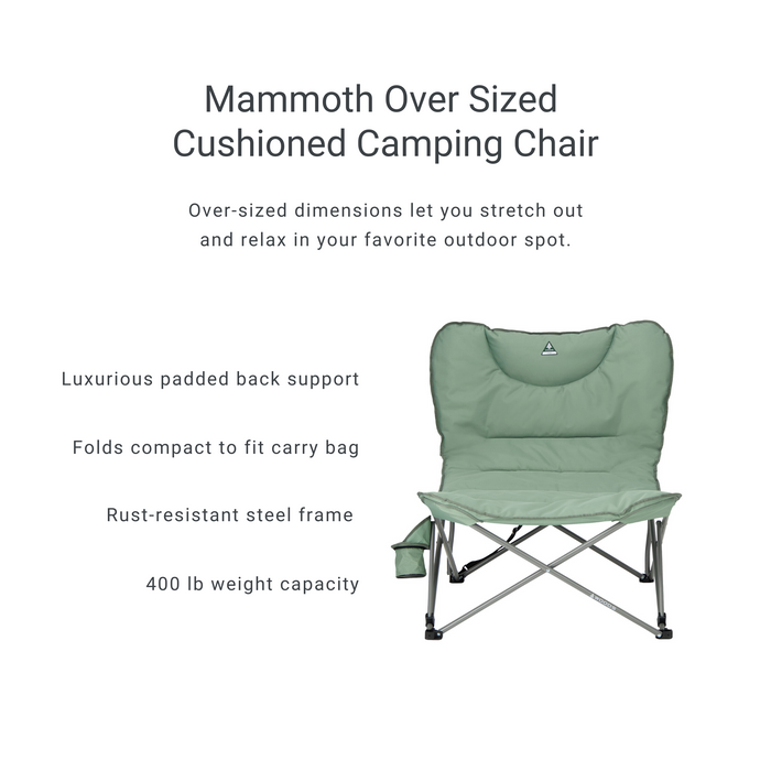 Woods Mammoth Folding Padded Camping Chair - Sea Spray