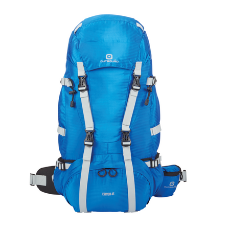 key features Outbound Canyon Hiking Backpack 65L - Blue