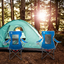 Load image into Gallery viewer, Outbound Folding Quad Camping Chair with Mesh Back and Cup Holder - Blue