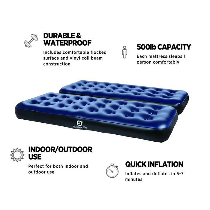 Outbound Twin 2-Pack Single Size Camping Air Mattresses Lightweight & Portable